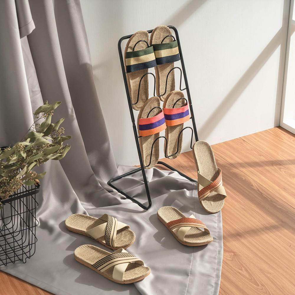 愛美百貨│時尚雜誌風格透氣亞麻拖鞋 N010 室內拖鞋 外出鞋 防滑拖鞋