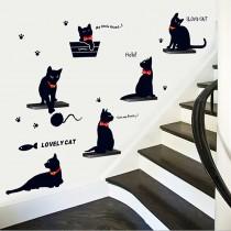 愛美百貨│室內裝潢設計 可愛貓咪階梯 壁貼 牆貼