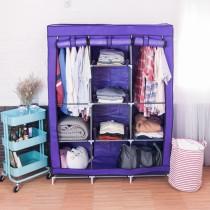 愛美百貨│(銀/黑管隨機出貨)超大三排加寬加高8格簡易防塵組合式衣櫃 組合衣櫃