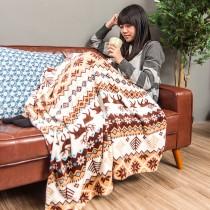 愛美百貨│歐式糜鹿造型法蘭絨毯懶人毯 毛毯 冷氣房毯