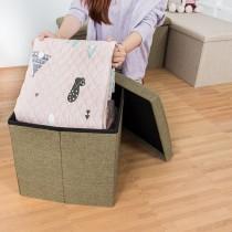 愛美百貨│55L日式棉麻素面摺疊收納沙發椅 收納箱 收納盒 置物桶 折疊收納凳 矮凳 穿鞋凳 38x38x38CM