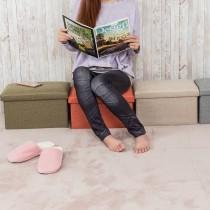 愛美百貨│25L日式棉麻素面摺疊收納沙發椅 收納箱 收納盒 置物桶 折疊收納凳 矮凳 穿鞋凳 40x25x25CM