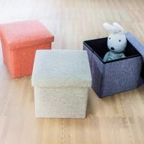 愛美百貨│27L日式棉麻素面摺疊收納沙發椅 收納箱 收納盒 置物桶 折疊收納凳 矮凳 穿鞋凳 30x30x30CM