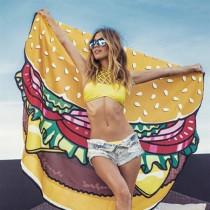 愛美百貨│美式速食造型野餐墊 沙灘巾 (漢堡 薯條 甜甜圈 披薩)