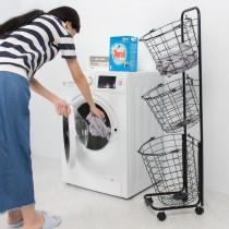 愛美百貨│三層式分類洗衣籃附輪推車 衣物收納 雜物收納