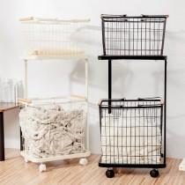 愛美百貨|北歐雙層方形可移動收納籃推車/洗衣籃/置物籃 44L 30L