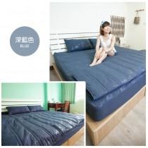 愛美百貨│【換季出清】 台灣製100%天絲絨標準雙人舖棉兩用被套床包四件組