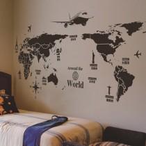 愛美百貨│室內裝潢設計 世界地圖 壁貼 牆貼