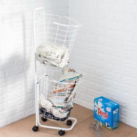 愛美百貨│雙層式分類洗衣籃附輪推車 衣物收納 雜物收納