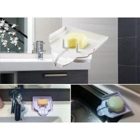 愛美百貨│吸盤式 可瀝水肥皂盒/菜瓜布架