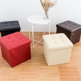 愛美百貨│55L仿皮革素面摺疊收納沙發椅 收納箱 收納盒 置物桶 折疊收納凳 矮凳 穿鞋凳 38x38x38CM