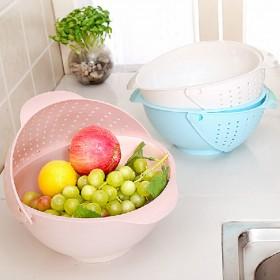愛美百貨│廚房蔬果翻蓋式瀝水籃 洗米器 洗菜籃