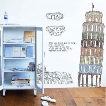 愛美百貨│室內裝潢設計 義大利比薩斜塔 壁貼 牆貼
