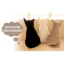 愛美百貨|背影貓 喵星人抱枕靠枕靠墊 絨毛玩偶 45公分/70公分
