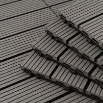 愛美百貨|樂嫚妮拼裝仿真豎木地板 塑木地板系列(9片/箱) 深灰 Q043-W04