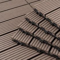 愛美百貨|樂嫚妮拼裝仿真豎木地板 塑木地板系列(9片/箱) 咖啡 Q043-W01