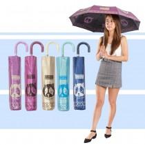 愛美百貨|時尚法鬥輕巧皮質彎把三折傘 時尚狗頭造型