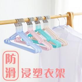 愛美百貨 防滑塗層塑料奈米浸塑衣架 三角衣架90支 顏色隨機 J015-90-A
